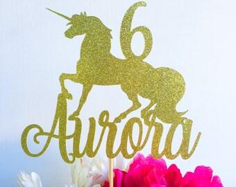 Unicorn cake topper | Unicorn party | Glitter cake topper | Gold cake topper | Unicorn party decor | Unicorn birthday | Name Topper