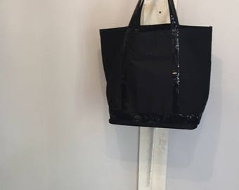 Large black canvas tote