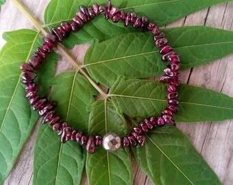 Garnet Chip Stone with Pyrite bead stretch bracelet boho bracelet