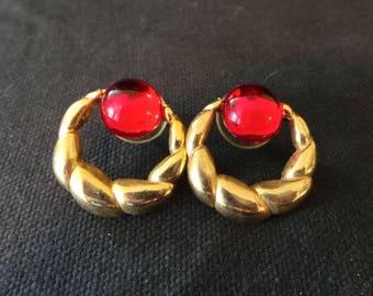Vintage Twisted Gold Rope Ruby Red Cabochon Hoop Earrings