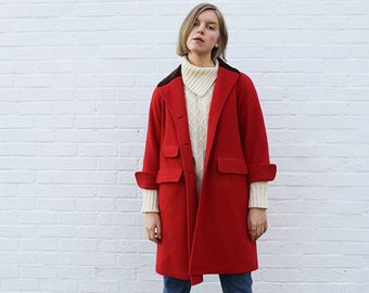 Vintage Bright Red Coat Large, 90s Coat, Red Winter Coat Medium, Statement Piece, 90s Clothing, Single Breasted Red Coat, Red Jacket