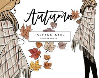 Autumn Fashion Clipart, Fall Fashion Girls, Fashion Illustration, Autumn Leaves Clipart, Hand Drawn, 5 Individual PNG Designs, 300 DPI