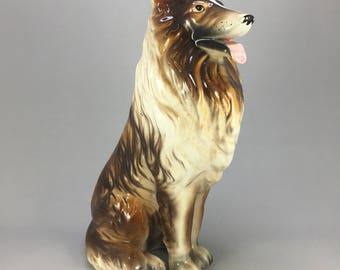"Vintage Beautiful 8"" Tall Handmade Collie Dog Porcelain Ceramic Figurine"