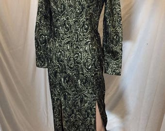 Vintage Christina Stambolian Black and Gold Metallic Dress with Leg Slits Long Sleeves Long Length