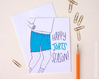 Funny Greeting Card, Happy Jorts Season, Spring Card, Summer Card, Funny Friend Card, BFF Card, Unique greeting, A2 greeting card