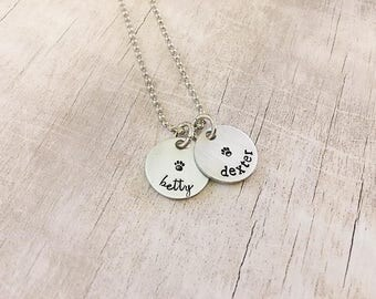 Custom Dog Name Jewelry - Dog Mom Necklace - Dog Name Jewelry - Pet Lover Necklace - Paw Print Necklace