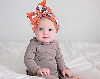 BURNT ORANGE FLORAL Gorgeous Wrap- headwrap; fabric head wrap; floral head wrap; boho; newborn headband; baby headband; toddler headband
