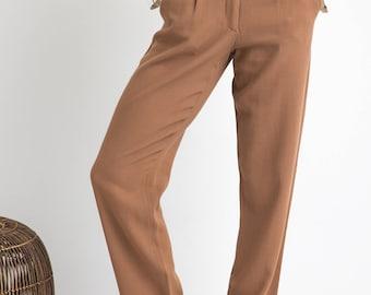 60s Cocoa High Waist Pleated Woven Trouser Straight Leg XS