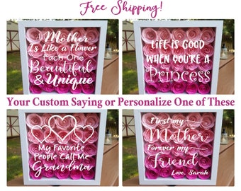 Free Shipping!  3D Paper Flower Shadow Box, Personalized Gifts for Mom, Grandma, Mother's Day, Birthday Gift, Paper Roses, Princess, Roses