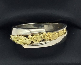Natural yellow Gold nuggets in white gold band men's size 10