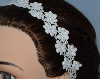 Headband lace wedding ecru bridal headband, headband, Bridal, ecru lace flowers headband wedding ecru, off-white wedding headband
