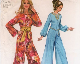 Palazzo Jumpsuit Pattern Vintage Jumpsuit SIMPLICITY 9113 bust 32.5 Retro Jumpsuit Wide Leg Jumpsuit Jiffy Pattern Mod Jumpsuit Bell Bottoms