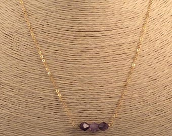 Amethyst and Gold Filled Chain Necklace Gemstone Necklace Februarys Birthstone Birthday Gift Valentines Gift Classic Necklace