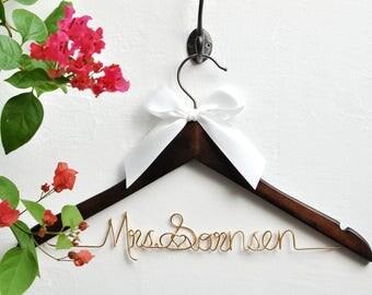 Wedding gift etsy wedding giftbride giftpersonalized wedding hangersname hangershower gifts custom negle Image collections