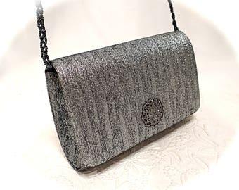 Vintage Silver Evening Bag La Regale Purse Metallic Handbag VH-130