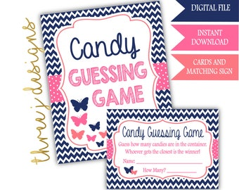 Butterfly Baby Shower Candy Guessing Game Cards and Sign - INSTANT DOWNLOAD - Navy Blue, Pink and Coral - Digital File - J003