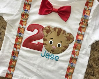 Daniel Tiger Shirt with suspenders, bow tie, number and name - Personalized!