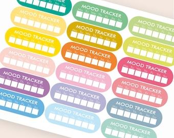 36 mood tracker stickers, mood stickers, planner stickers, happy face sticker eclp filofax happy planner kikkik
