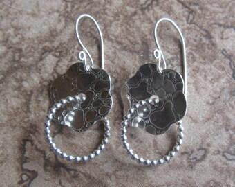 silver flower loop earrings