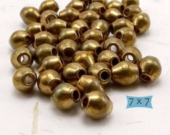 Solid Brass Bicone Beads--10 Pcs.  26-77BR-10
