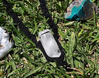 Raw Crystal Quartz Black Macrame Necklace