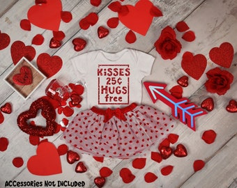 Kisses 25 Cents Hugs Free Bodysuit or T-Shirt for Baby Toddler Kid Newborn Babies Shower Coming Home Gift Idea Top Creeper Present Cute Day