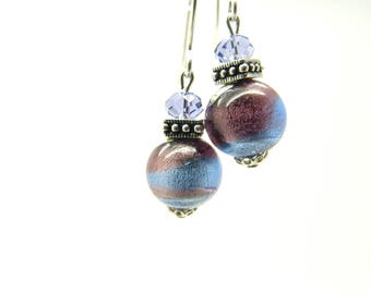 Silver leaves in blue and purple Murano glass earrings