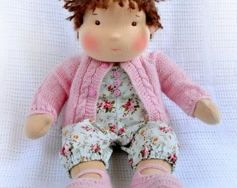 """MADE TO ORDER 14""""(36 cm) Waldorf Doll Baby Girl. Steiner doll-cloth doll-handmade doll-soft doll-waldorf toy-girl gift-organic doll"""