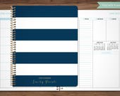 2018 2019 teacher planner 2018-2019 planner teacher lesson plan TEACHER PLANNER - TABS weekly calendar agenda / navy blue stripes