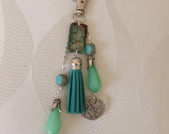 Bag charm or key ring, resin beads, and teal green tassel