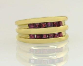 Estate 14K Yellow Gold .60ct Ruby Band Ring Bright High Polish