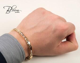 Rolex Gold Bracelet for Men Gold Bracelet Rolex Mens Gold Bracelet 14K Gold White and Yellow Gold Link Bracelet