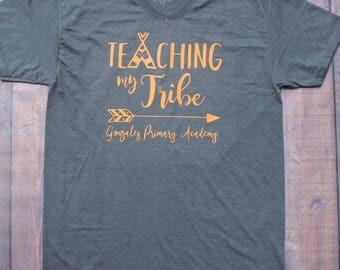 Teaching My Tribe, Teacher Shirt, Custom Teacher Shirt, First Day of School Shirt, Teacher Spirit Shirt, Elementary Teacher Shirt