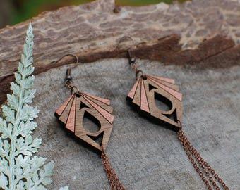 Wooden Earrings - Copper Deco