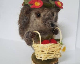 Needle Felted Hedgehog , hand made with 100% Wool out picking strawberries with a cute little basket and enjoying the summer.