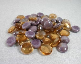 Purple And Orange Copper Glass Nuggets Purple Glass Cabochons Glass Mosaic Pebbles Mosaic Stones Craft Mosaic Glass Mosaic Tiles