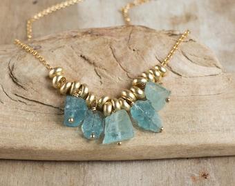 Five Raw Aquamarine Necklace, Rough Aquamarine Necklace, March Birthstone, Raw Crystal Jewelry, Aquamarine Jewellery, Birthstone Jewellery