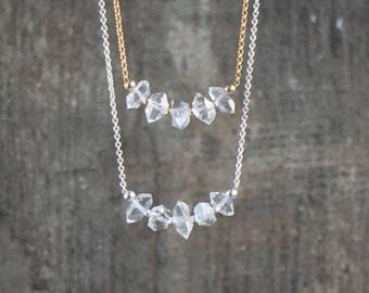 Herkimer Diamond Necklace, April Birthstone, Herkimer Bar Necklace, Herkimer Crystal Jewelry, Quartz Gemstone Necklace, Anniversary Gift
