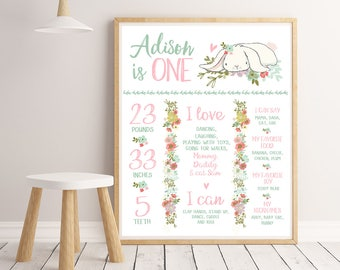 Some Bunny Milestone Board Baby Infographic Girl First Birthday Poster Milestone Sign Bunny Birthday Party Decor Floral DIGITAL DOWNLOAD