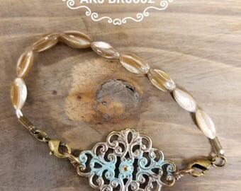 Filagree Turquoise and Brass Bracelet
