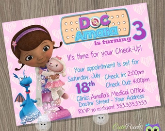 Doc McStuffins Invitation Doc McStuffins Birthday Invitation Doc McStuffins Party Doctor Invitation & Tinkerbell Place Cards Tinkerbell Food Labels Tinkerbell