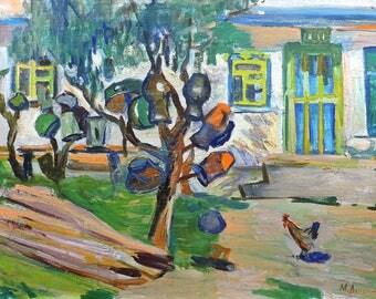 VINTAGE IMPRESSIONIST ORIGINAL Oil Painting by M.Minskaya-Lelchuk 1978 Rural Landscape Countryside view, Soviet Ukrainian Art One of a kind