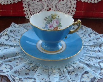 Sango China Made in Japan - Hand Painted - Vintage Tea Cup and Saucer - Squared Blue Cup with Multifloral Center