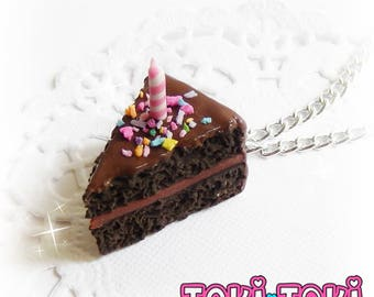 Chocolate Birthday Cake Pendant, Cake Slice, Cake Necklace, Birthday Cake Charm, Birthday Jewelry, Miniature Food Jewelry, Girl Birthday