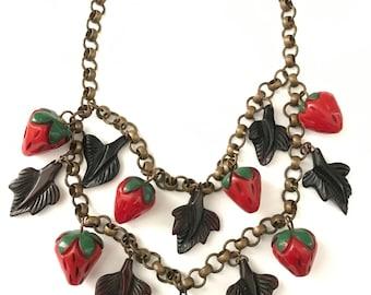 Vintage Bakelite Strawberry Leaf Bib Necklace