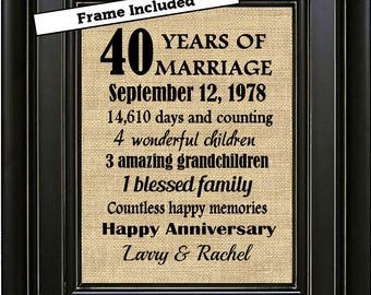 FRAMED Personalized 40th Wedding Anniversary Gift/40th Anniversary Gifts/Anniversary Gift for Parents/Anniversary Gifts for men/Gift for her