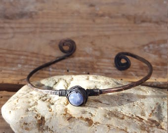 Bracelet stone semi precious aquamarine, natural stone, copper, blue, thin