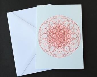 Flower of life mandala card, graphic greeting card, circle art greeting card, flower of life card, geometric greeting card, notecard 4x6