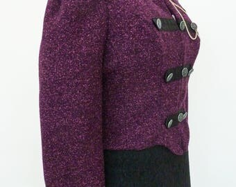 Purple Military Style Ladies jacket, Fitted Jacket, Cropped Jacket, Steampunk, Goth Jacket, Victorian, Military Jacket, Purple Jacket,Gothic