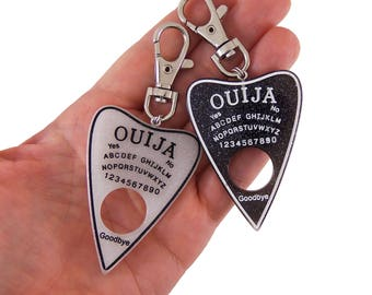 Ouija board clip, ouija backpack clip, ouija back pack clip, ouija purse clip, ouija clasp, ouija planchette, oujia party favors, grunge